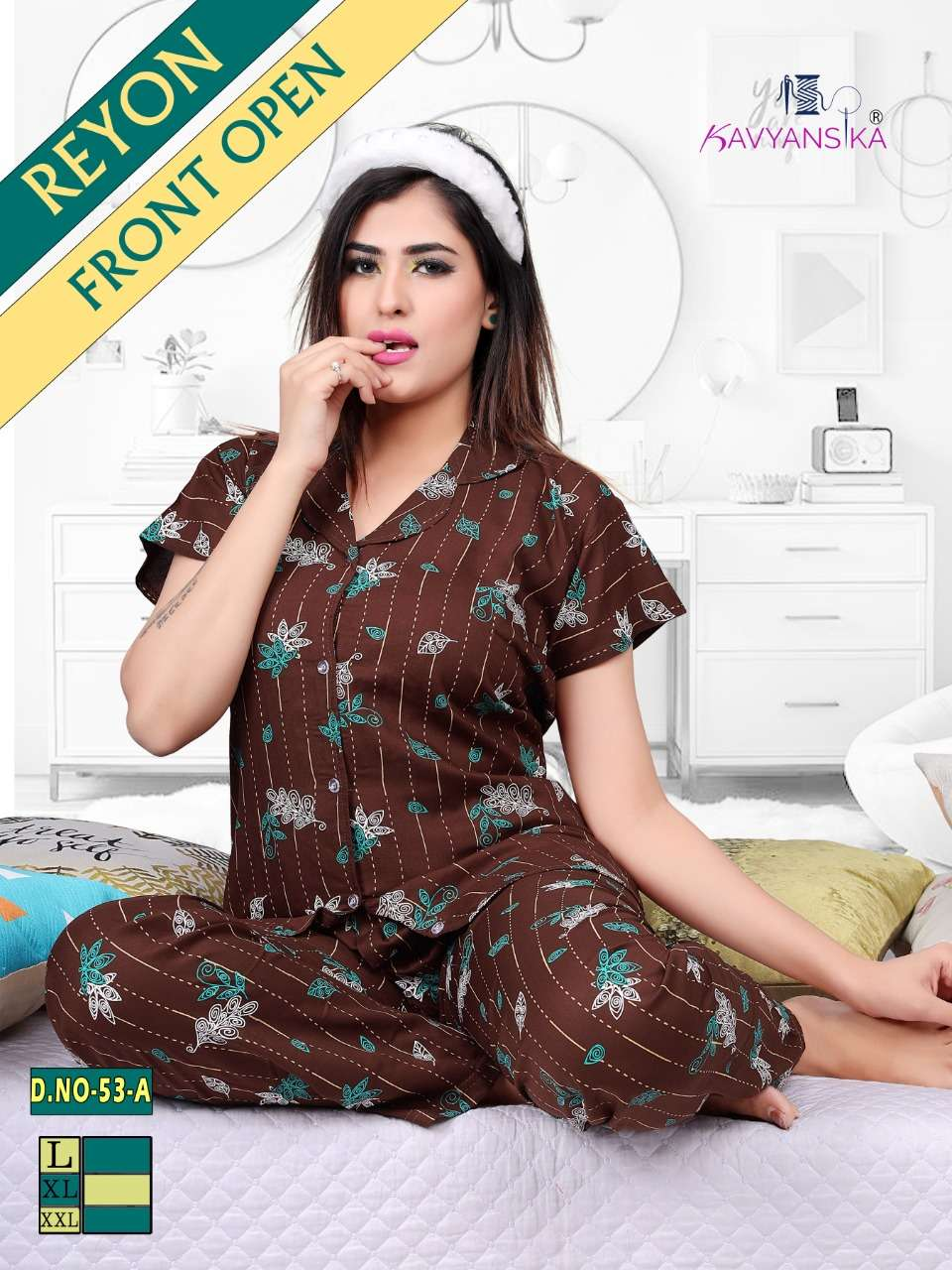kavyansika collar night suit vol 53 rayon shirt night suit for women
