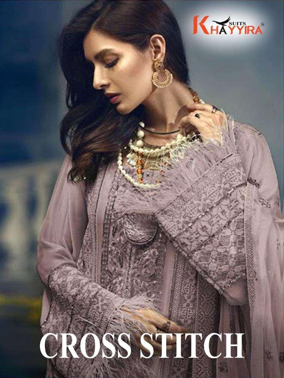 khayyira cross stitch pakistani semi stitched heavy embroidered dresses collection