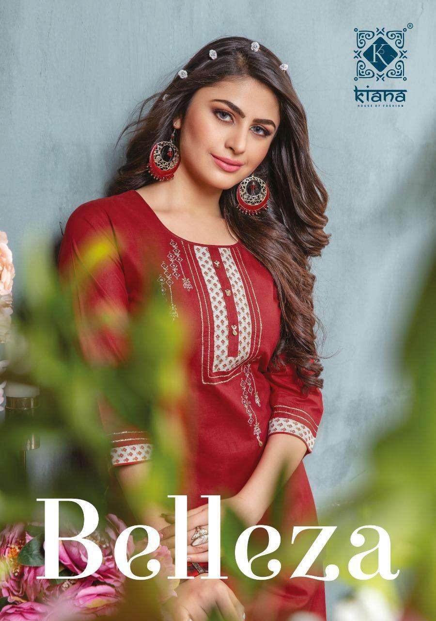 kiana launch belleza rayon designer kurti with pant collection