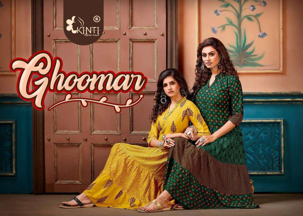 kinti ghoomar rayon frill casual wear kurti wholesaler