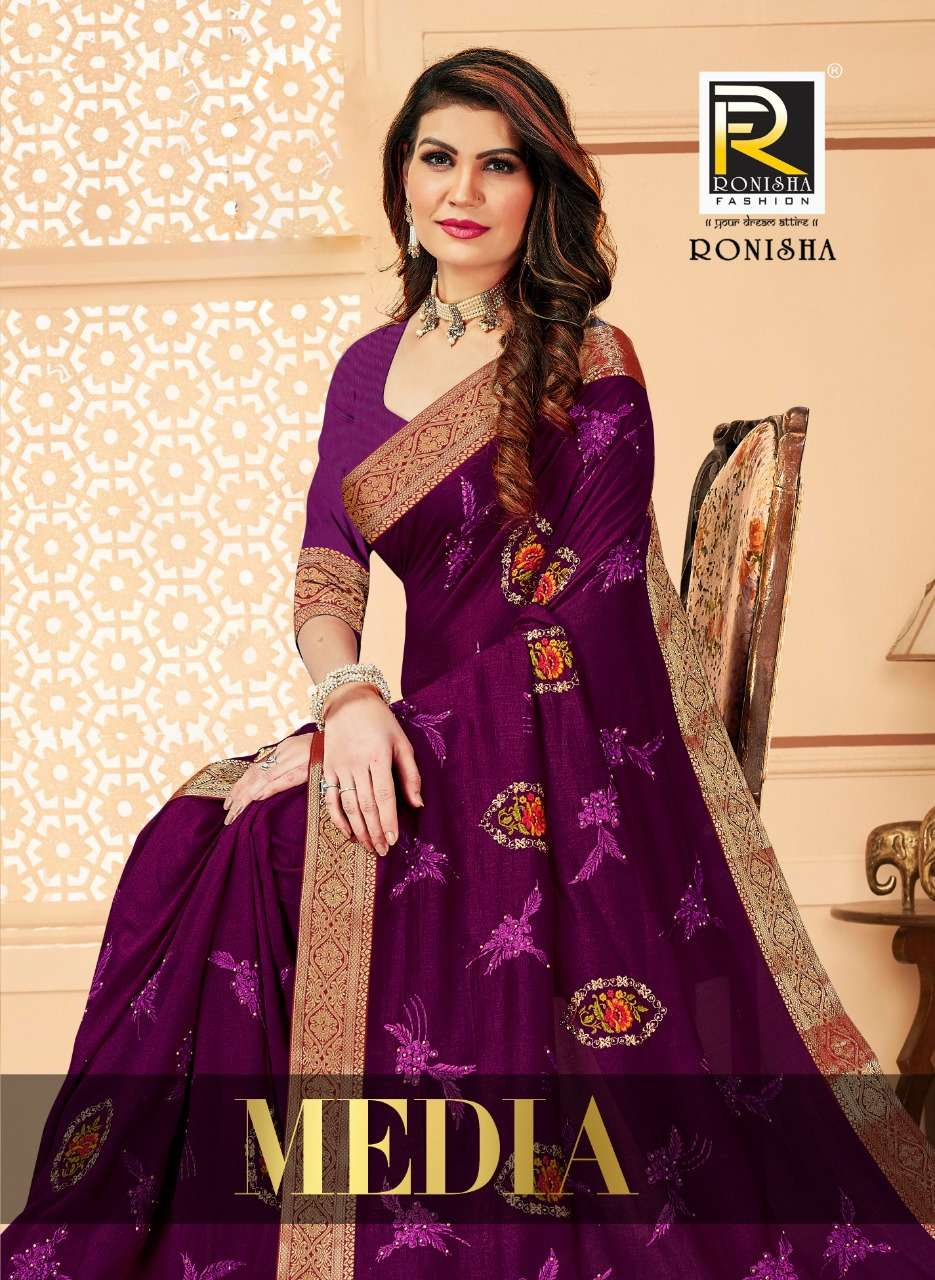 Media by ranjna saree embroidery warked fancy border fastive wear saree Collection