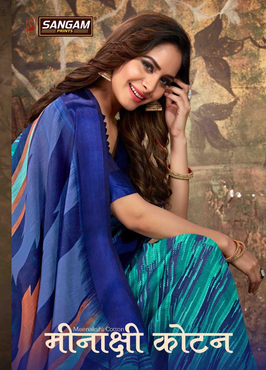 Minaxi Cotton By Sangam Prints Cotton With Satin Patta Saree Exporter
