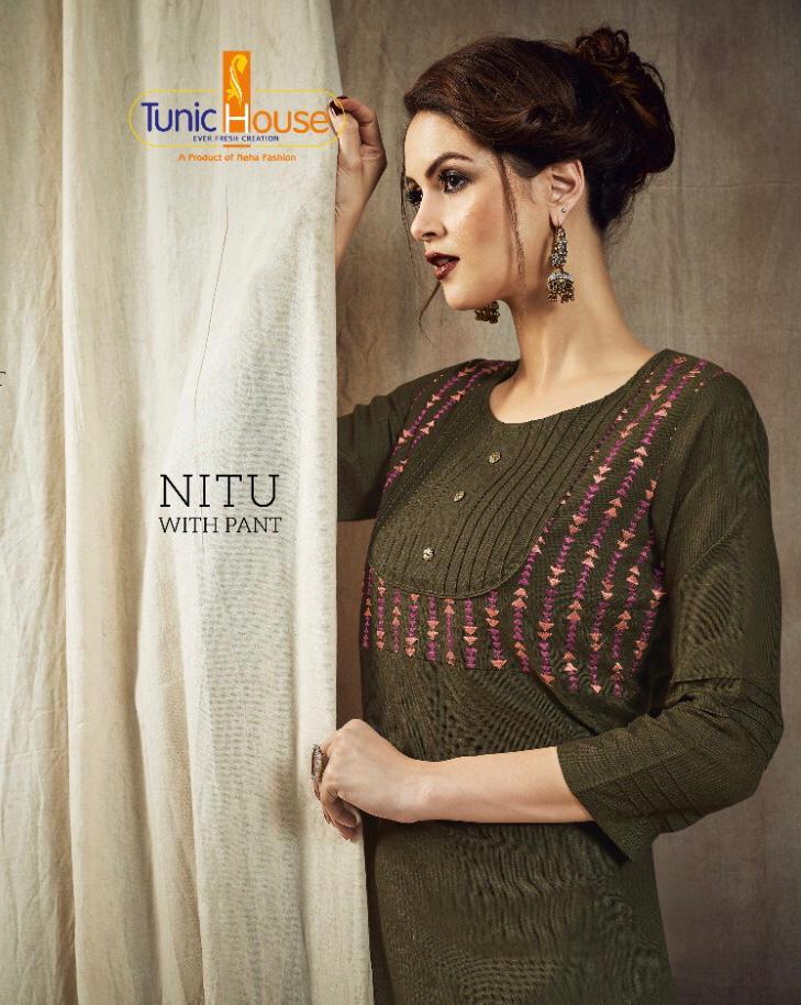 Neha Fashion Launch Nitu With Pant Cotton Slub Kurti With Bottom Wear Collection