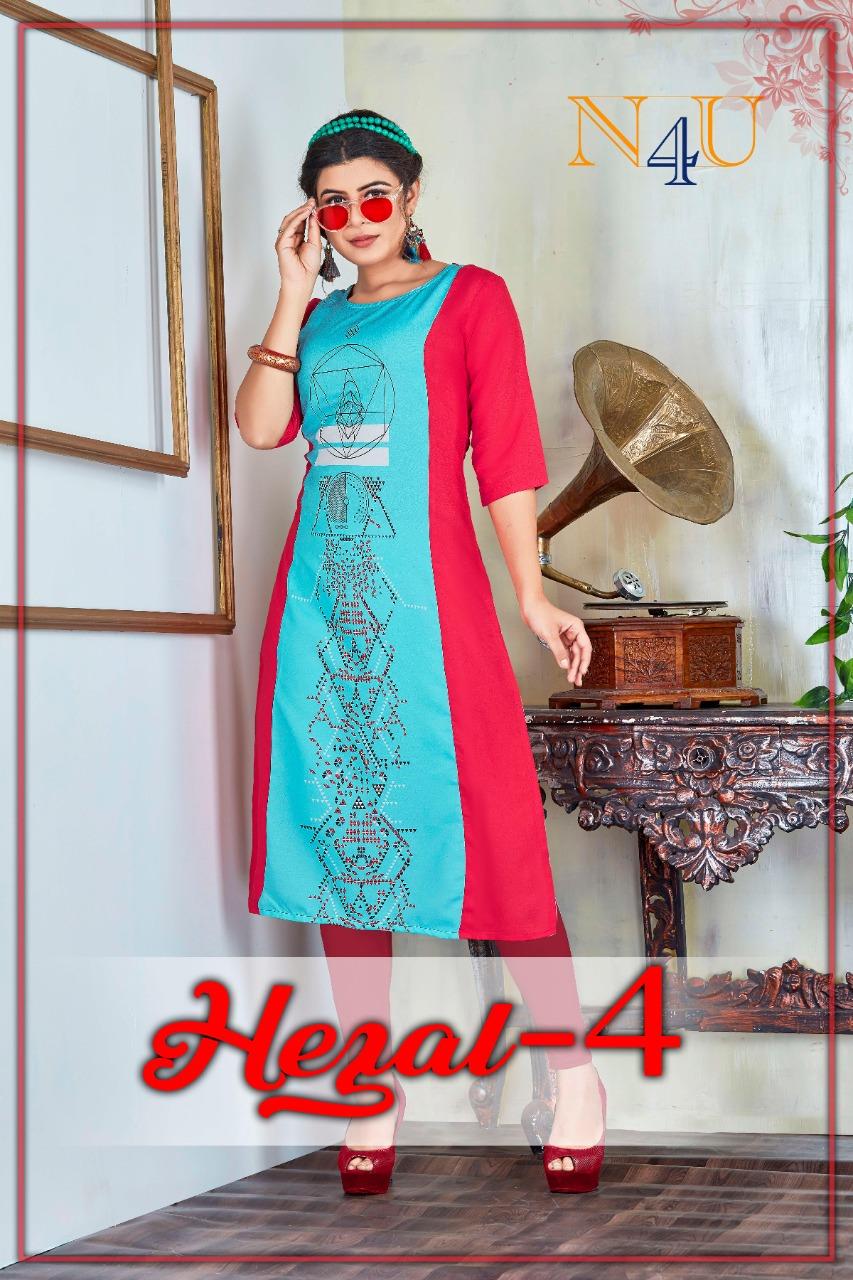Neha Fashion Presents Hezal Vol 4 Viscose Rayon Digital Print Daily Wear Kurti For Girls