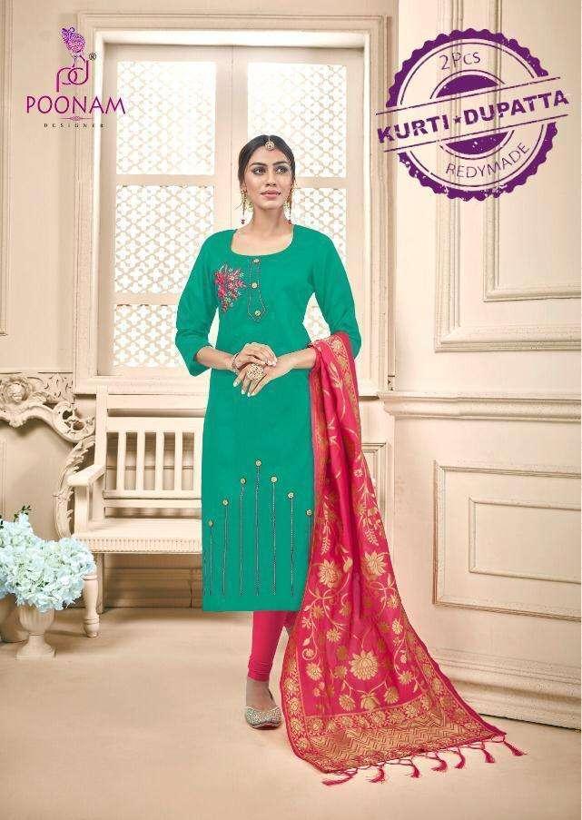 poonam raas cotton kurti with banarasi dupatta
