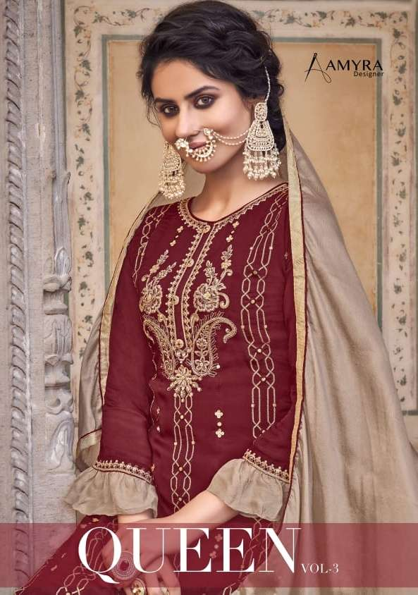 queen vol 3 by amyra chinon silk embroidery plazzo style salwar kameez