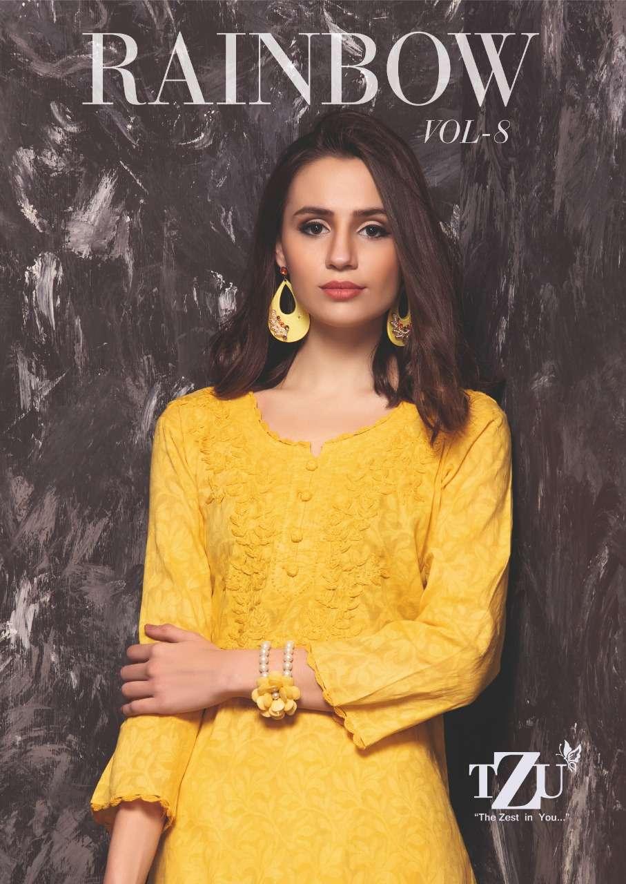 rainbow vol 8 by tzu cotton jacquard designer kurti with plazzo seller