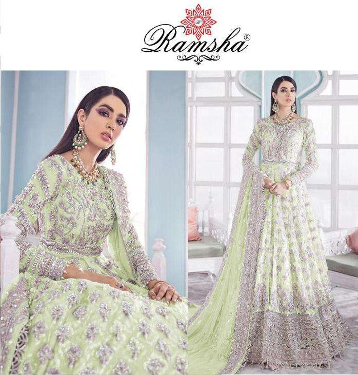 ramsha 286 nx net kali style embroidery party wear suits