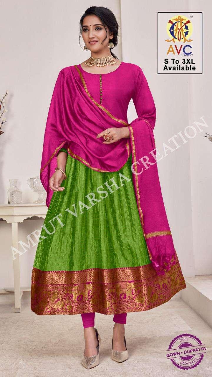 rani patthu by avc lichi silk jacquard readymade long gown with dupatta