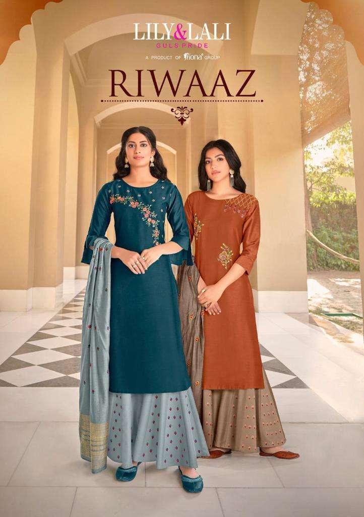 riwaaz by lily & lali silk readymade plazzo style salwar kameez