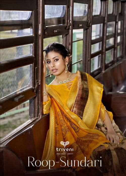 roop sundari by triveni cotton linen casual wear fancy sarees