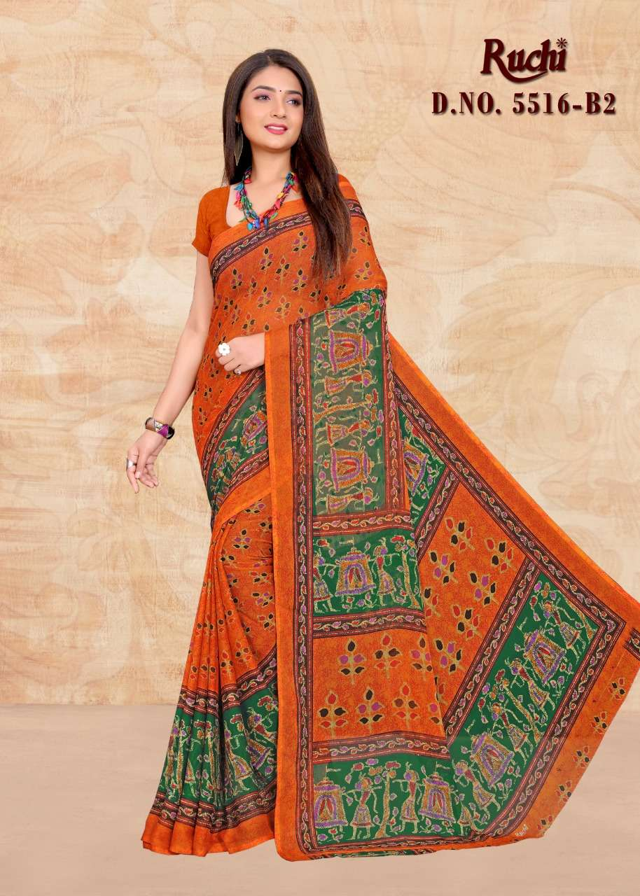 ruchi 5516 chiffon printed daily wear ladies sarees