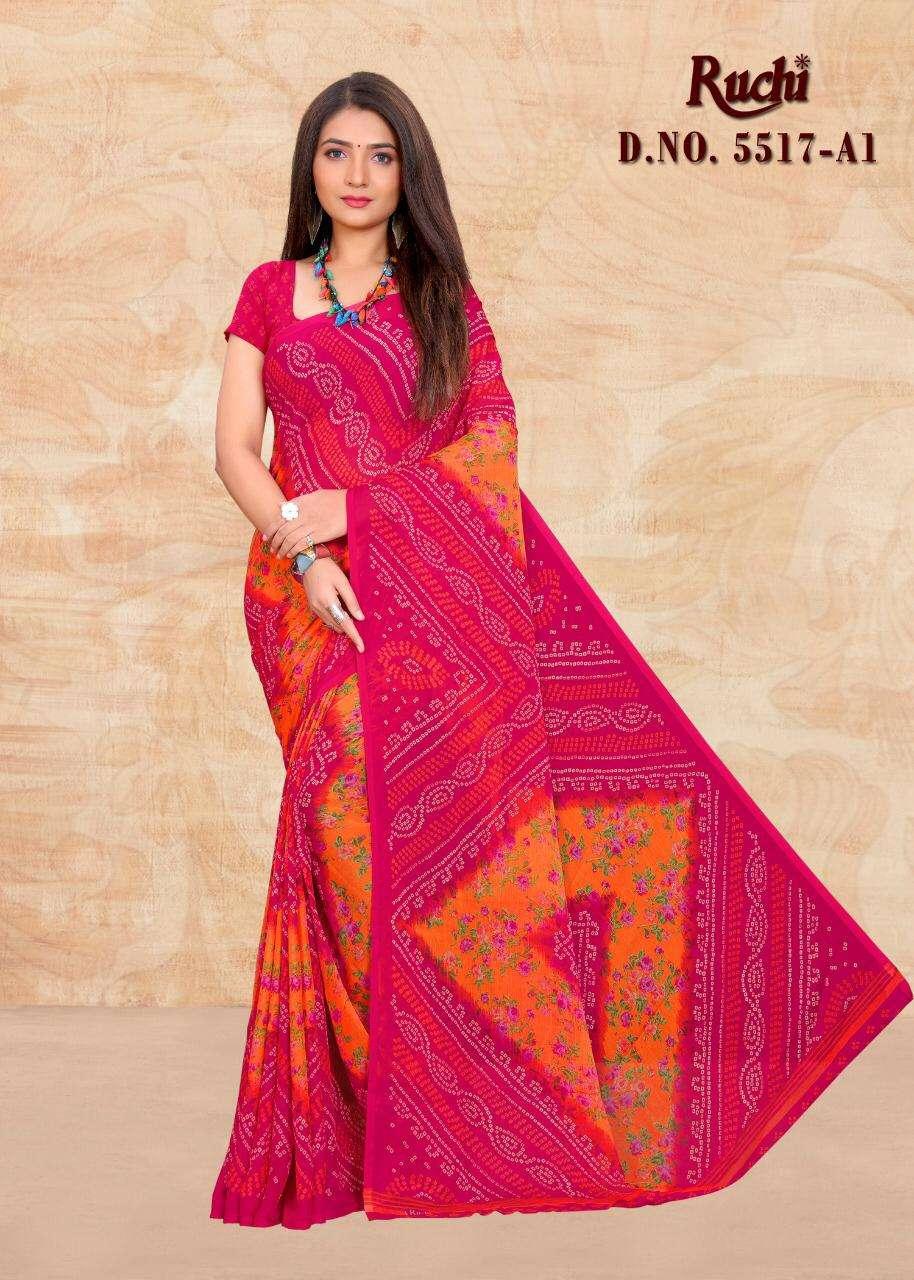 ruchi 5517 chiffon bandhani printed daily wear sarees