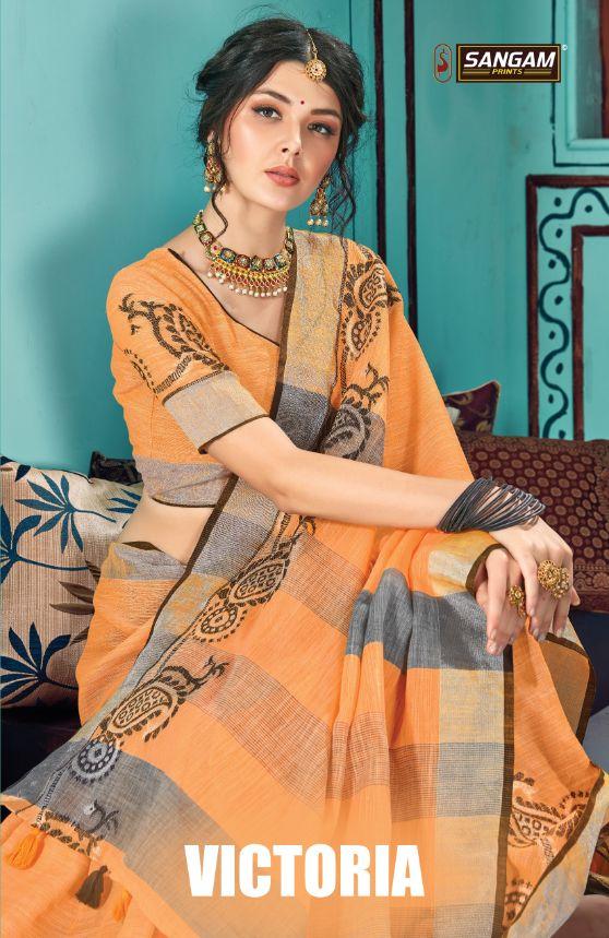 Sangam Print Launch Victoria Linen Embroidery Work Exclusive Saree Exporter
