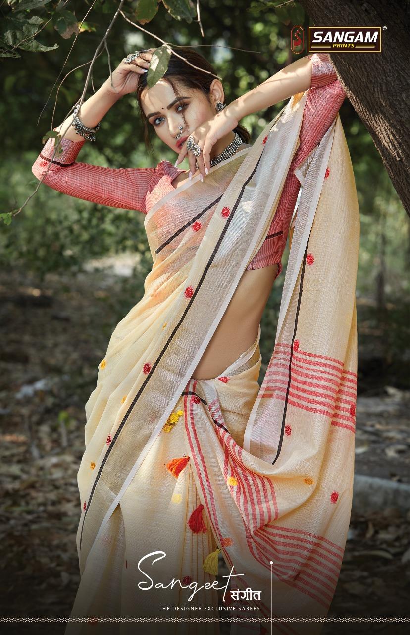 Sangam Print Sangeet Linen With Embroidery Work Saree Exporter