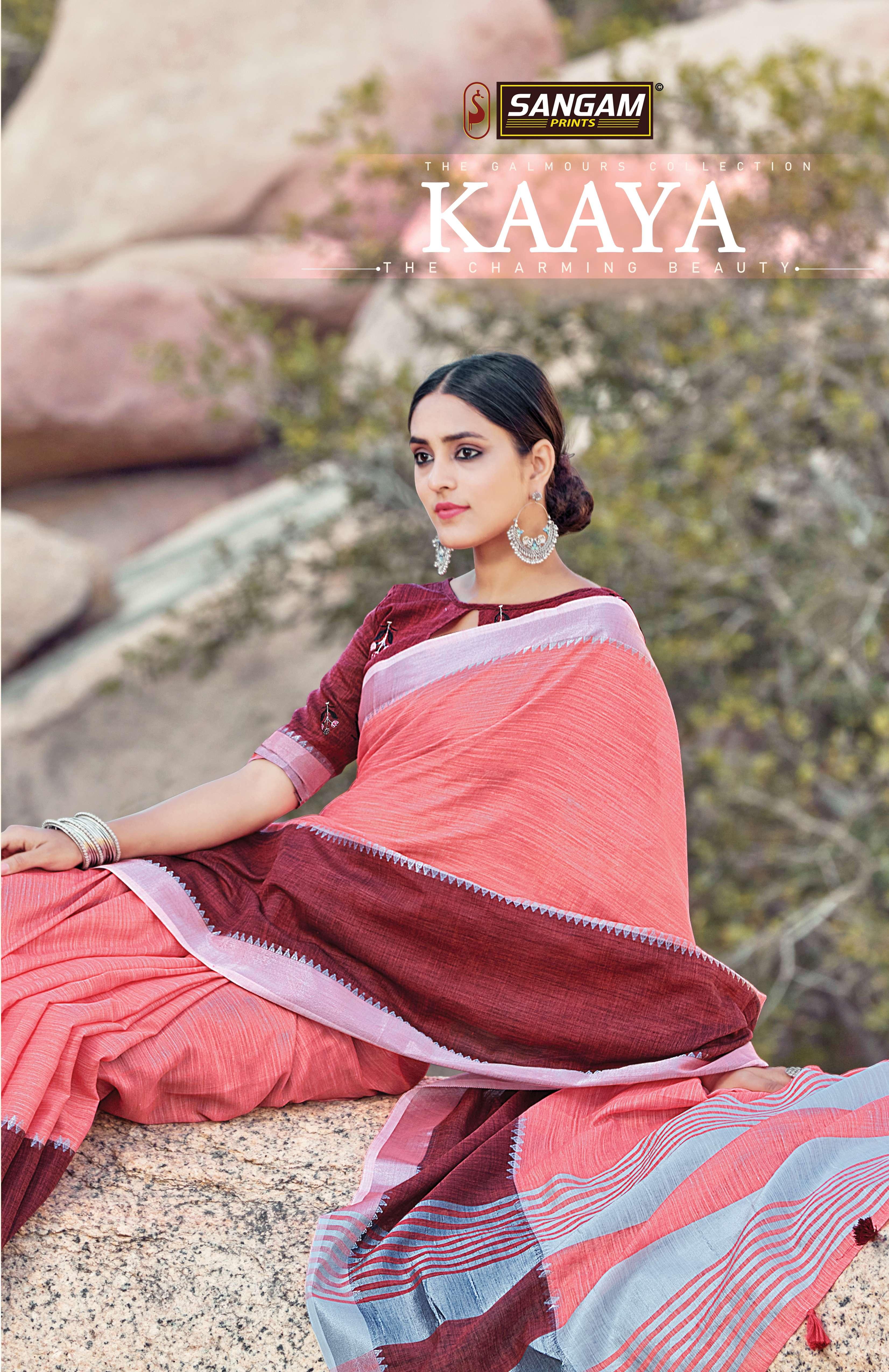 sangam prints kaaya linen cotton saris wholesaler