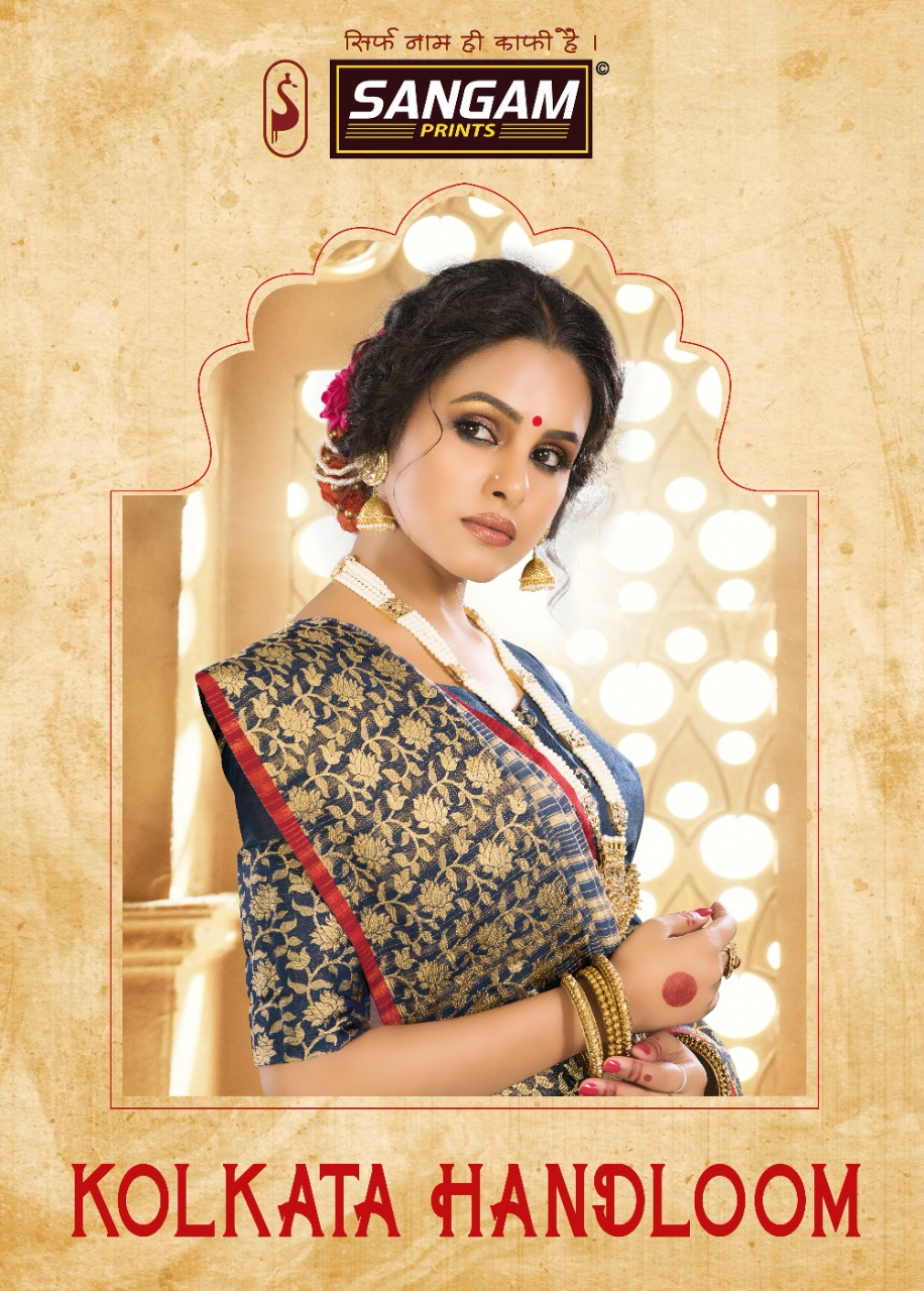 Sangam Prints Kolkata Handloom Silk Traditional Wear Saree Supplier