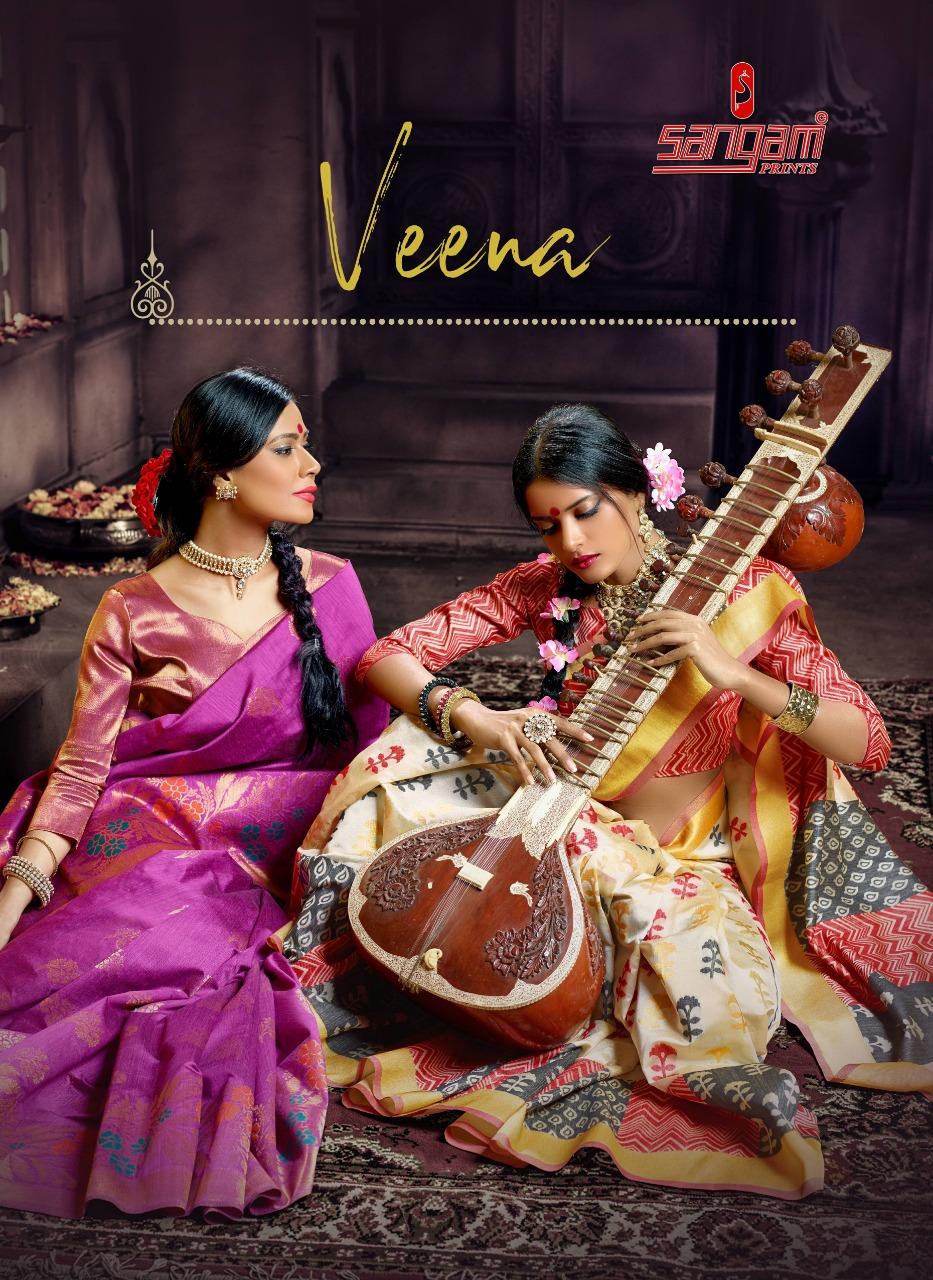 Sangam Prints Launch Veena Pure Banarasi Silk Attractive Design Print Saree Exporter
