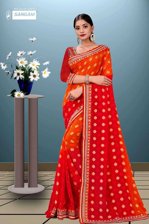 sangam prints sangam vol-10 fancy georgette saris wholesaler