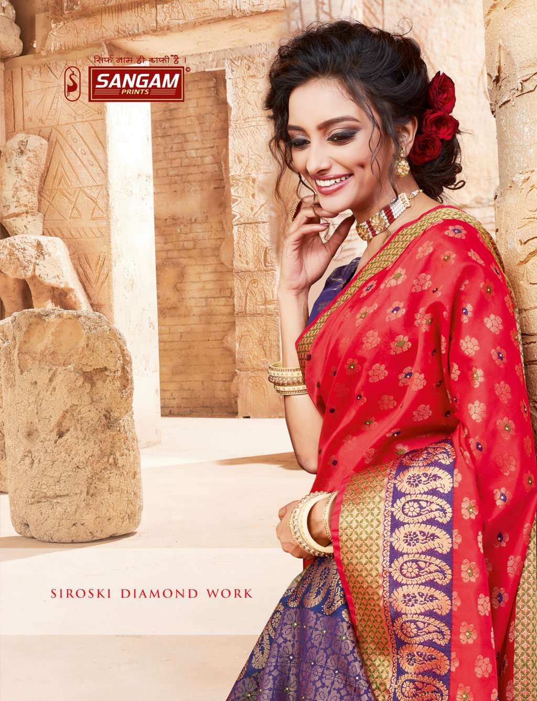 sangam prints shantanam siroski work silk saris wholesaler