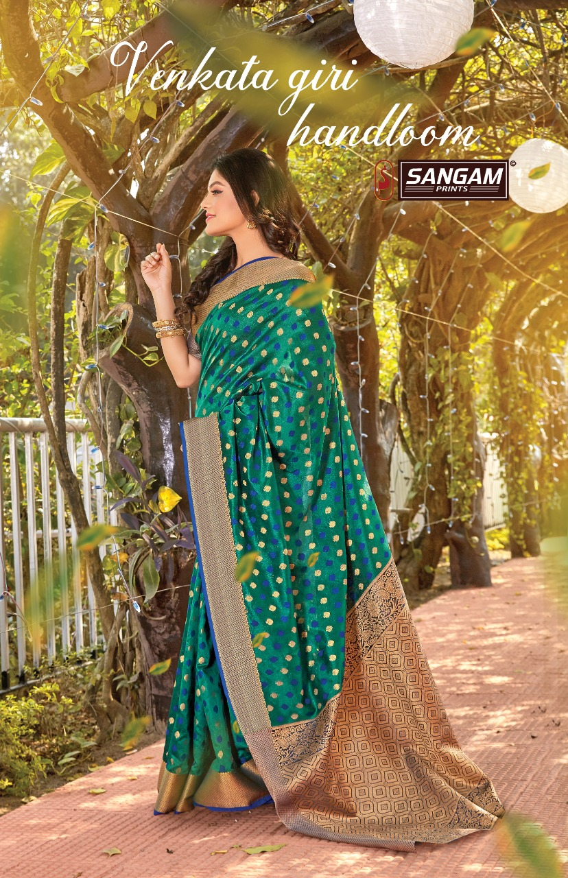 Sangam Prints Venkata Giri Handloom Cotton With Weaving Saree Catalogs