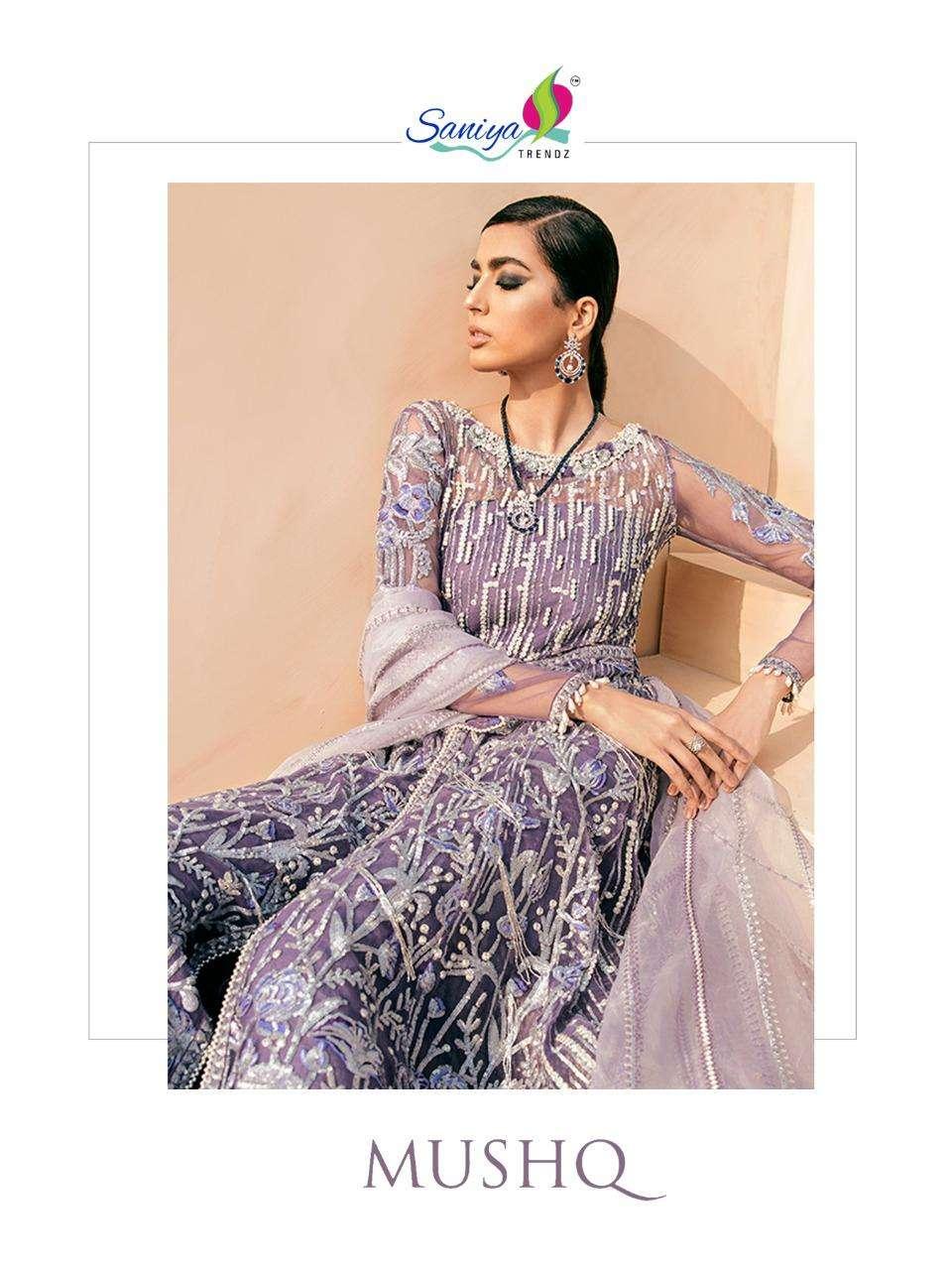 saniya trendz mushq butterfly net with embroidery pakistani designer suits