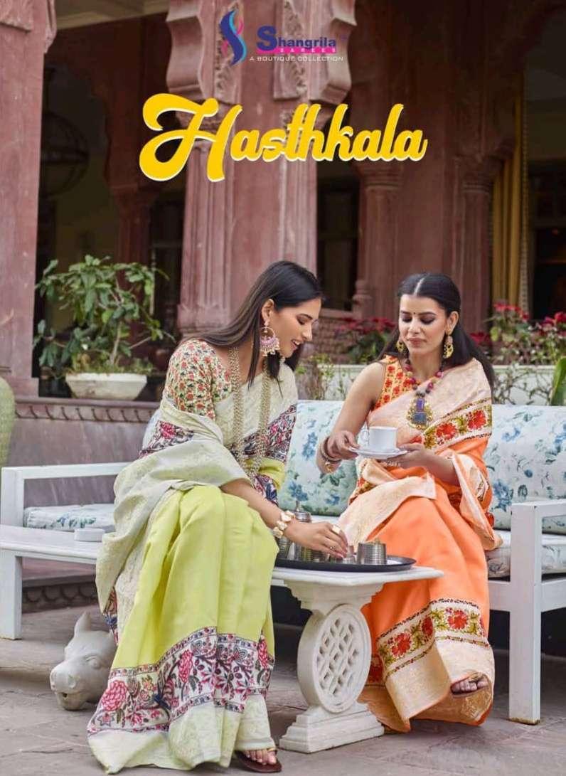 shangrila hasthkala soft tussar digital prints saris exporter