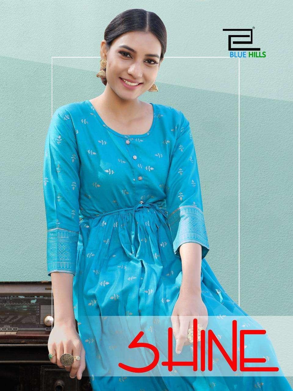 shine by blue hills rayon short frill stylish kurti online supplier