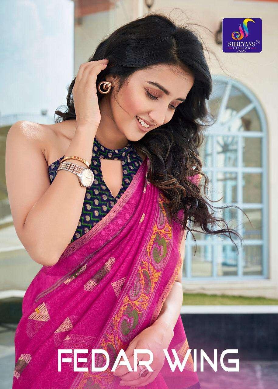 shreyans fashion fedar wing pure linen printed saris authorized supplier