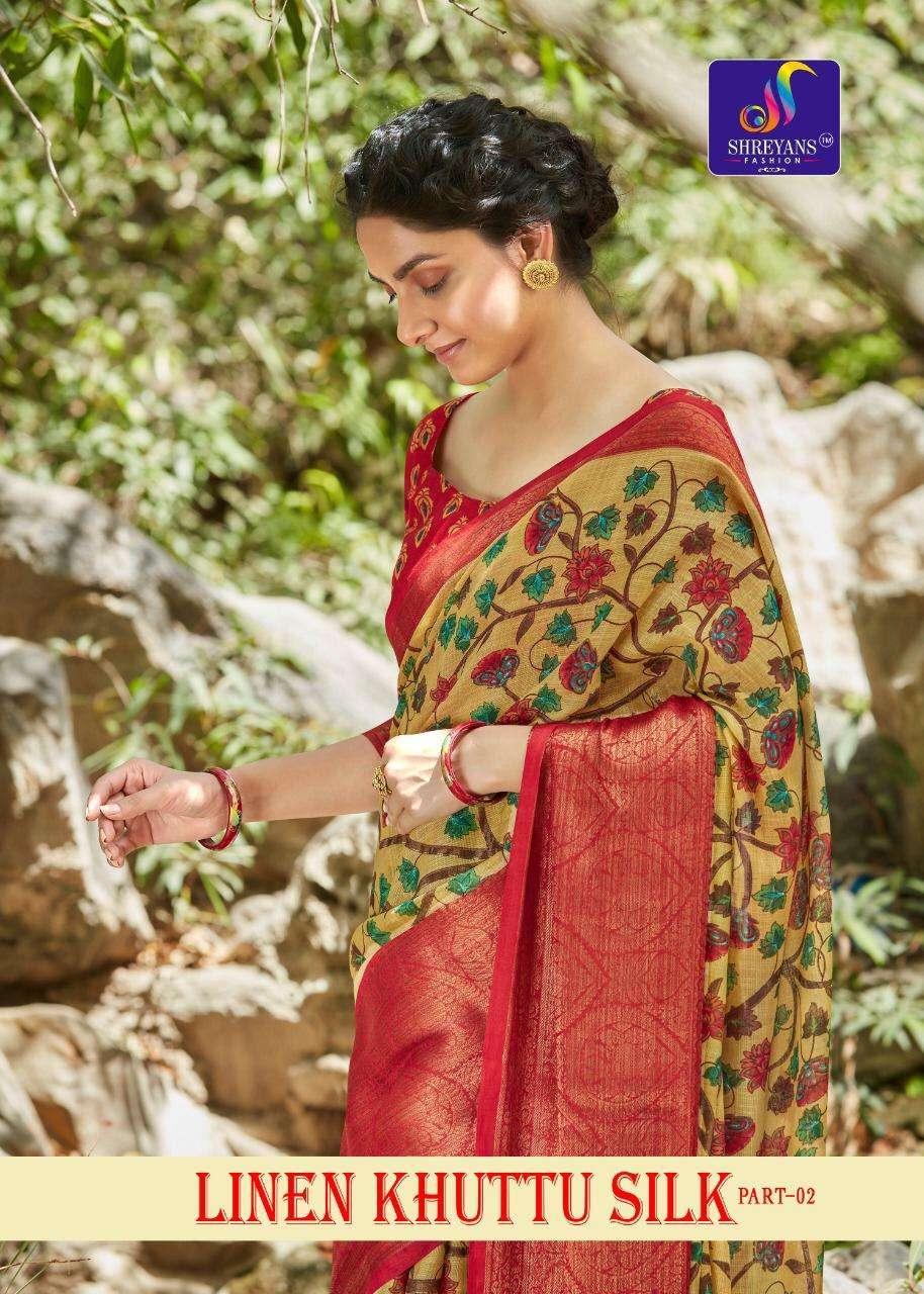 shreyans fashion linen khuttu silk vol 2 fancy saree authorized supplier in surat