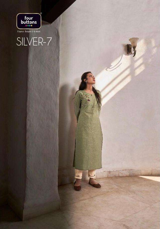 silver vol 7 by four buttons cotton work kurti with pant collection