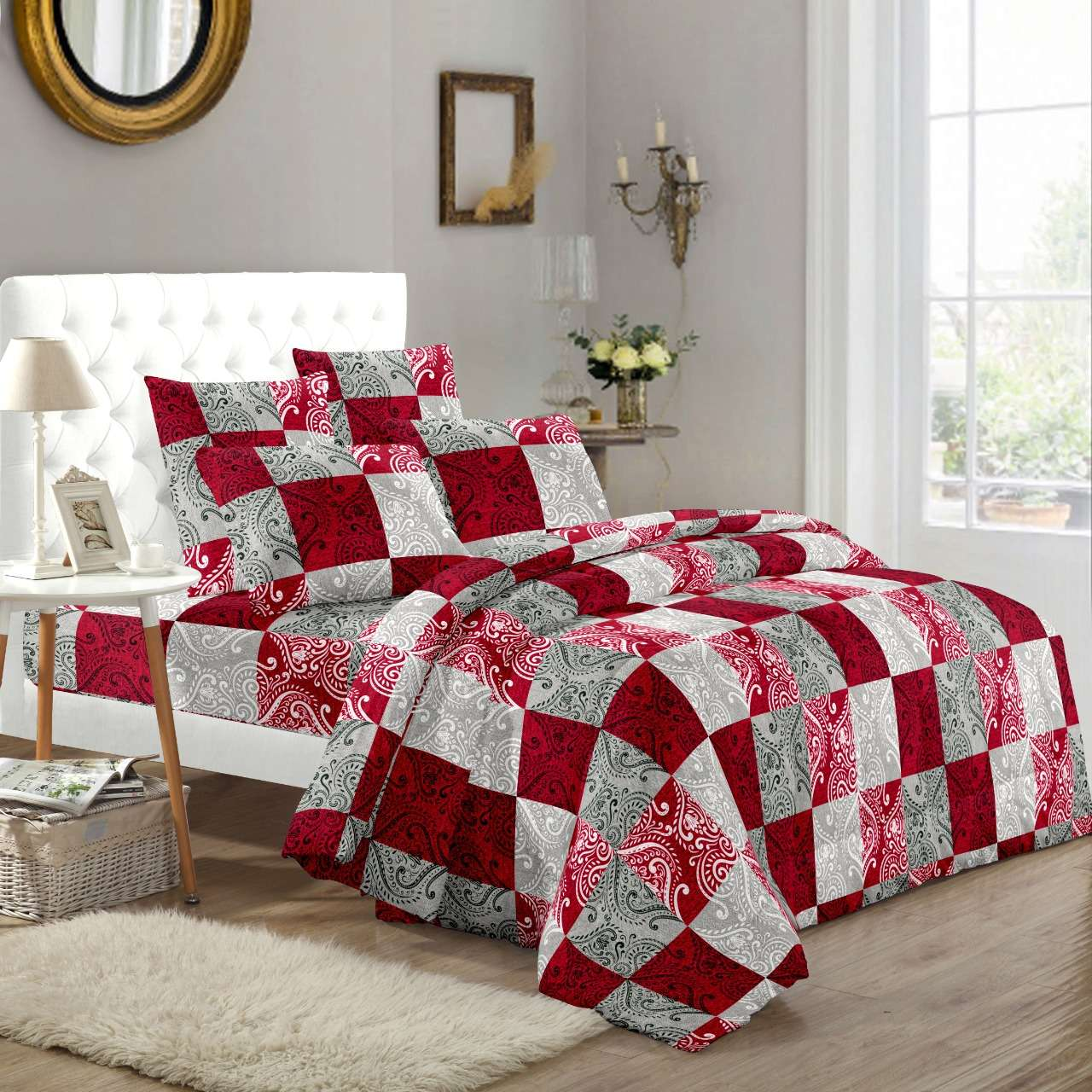 solitaire part 2 soft pure cotton colorful printed king size bedsheets with pillow cover