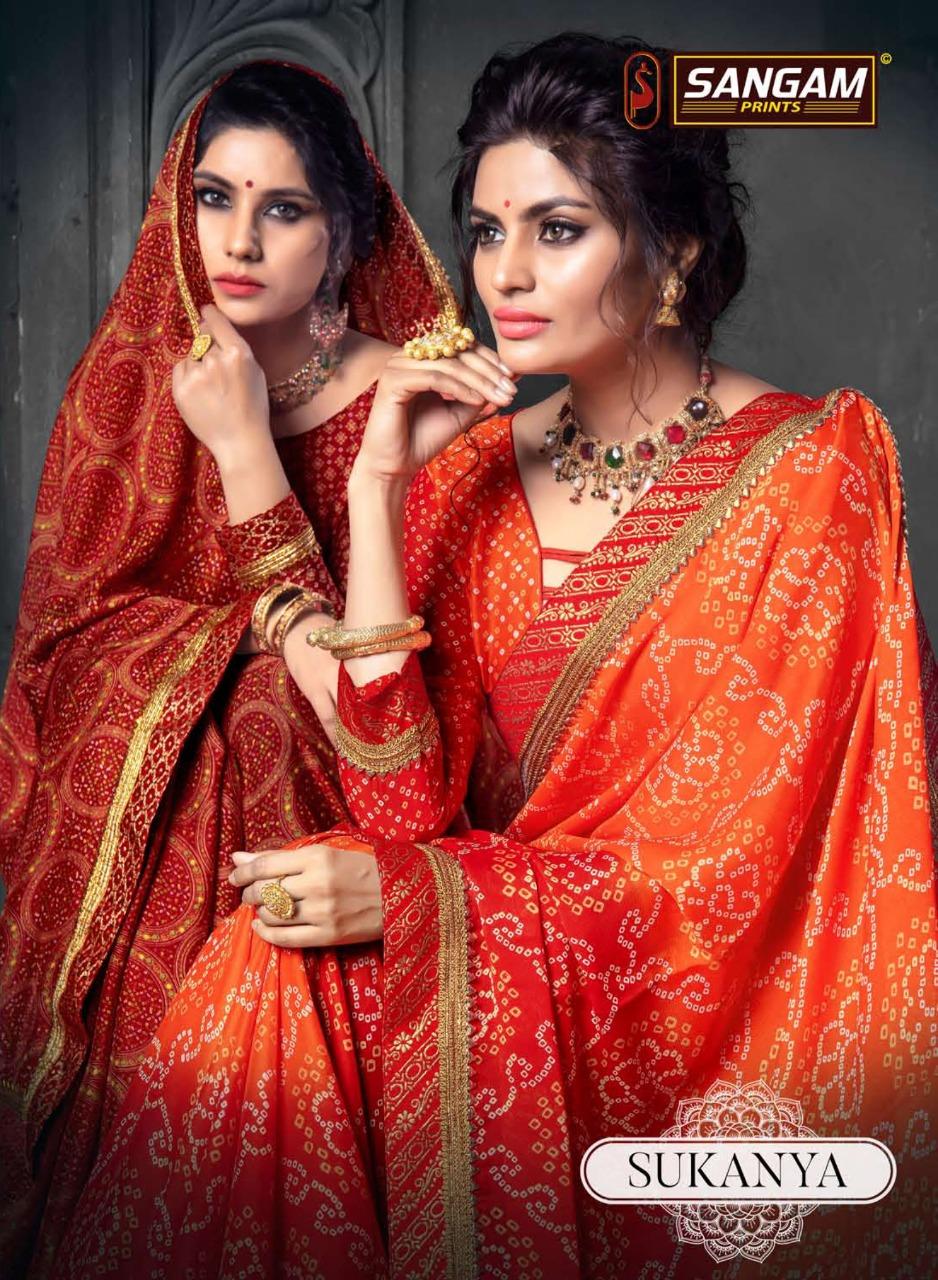 Sukanya By Sangam Chiffon Bandhani Designer Bandhej Saree