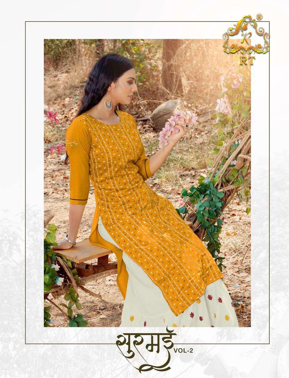 surmaee vol 2 by rijiya exclusive rayon kurti with sharara collection