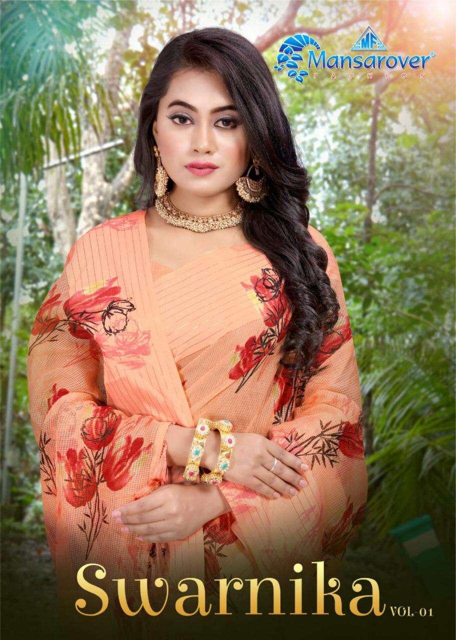 swarnika by mansarover varni chex printed daily wear sarees