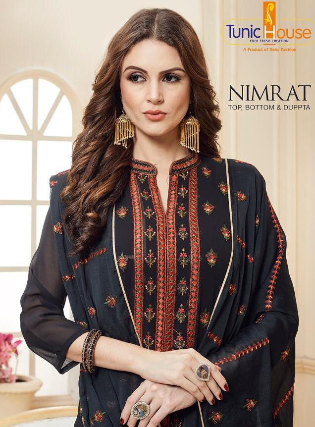 Tunic House Nimrat Georgette Embroidered Readymade Suits Elegant Design