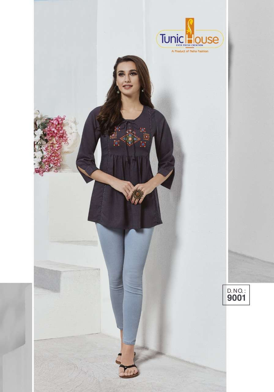 Tunic House Present Nek Rayon Embroidery Short Top Collection