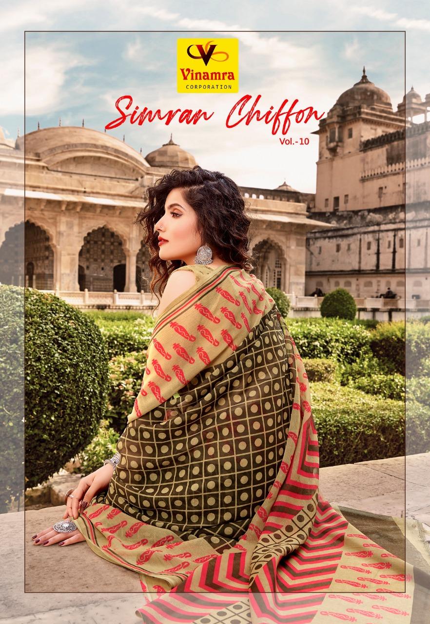Vinamra Corporation Simran Chiffon Vol 10 Daily Wear Chiffon Saree At Lowest Rate