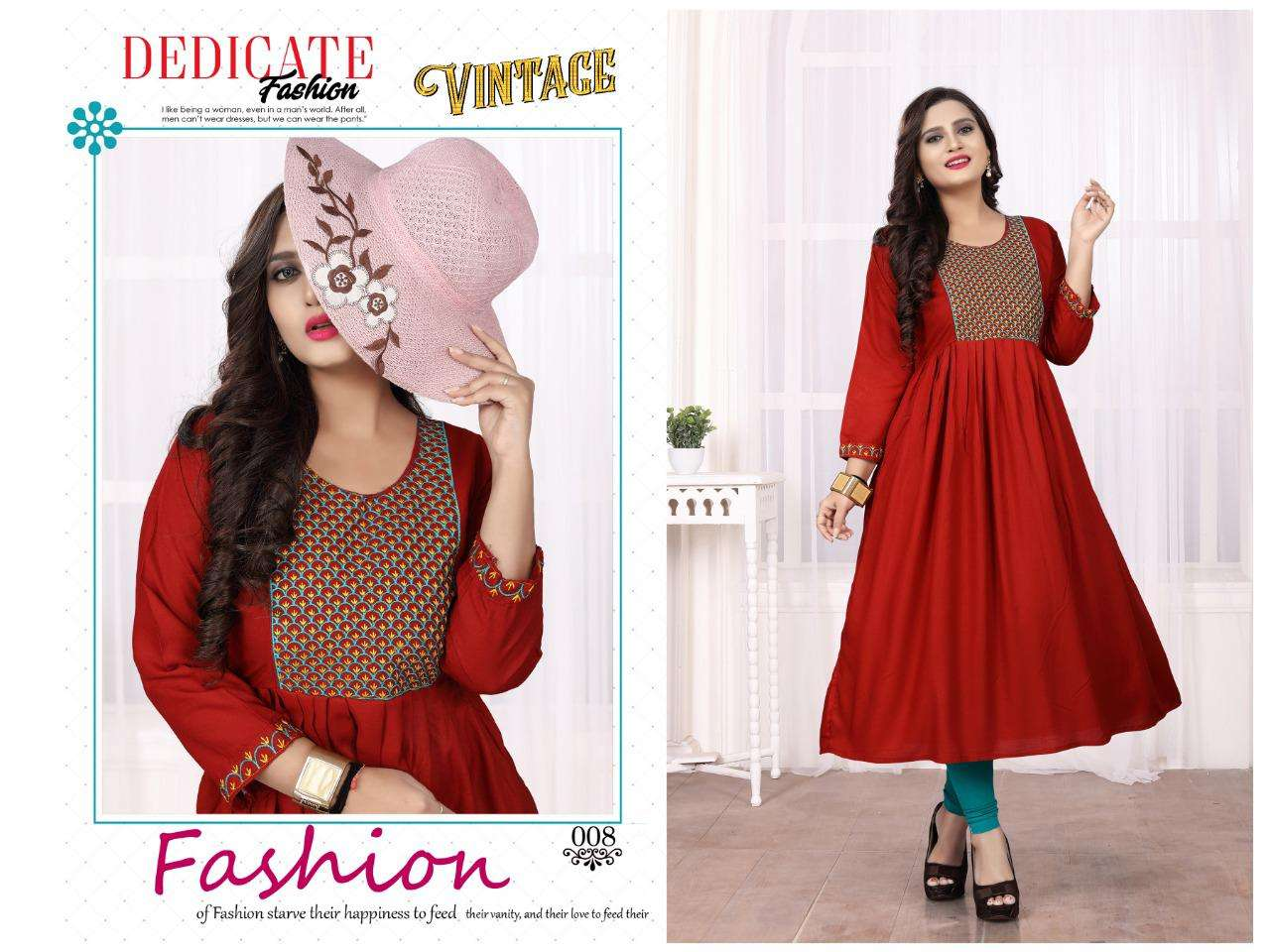vintage by aagya heavy rayon with work flair kurti Catalog Collection Wholesaler Lowest Best Price In Ahmedabad Surat Chennai India Uk Usa Malaysia Singapore Canada Australia