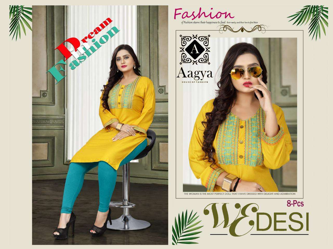 wedesi by aagya heavy rayon with work kurti Catalog Collection Wholesaler Lowest Best Price In Ahmedabad Surat Chennai India Uk Usa Malaysia Singapore Canada Australia