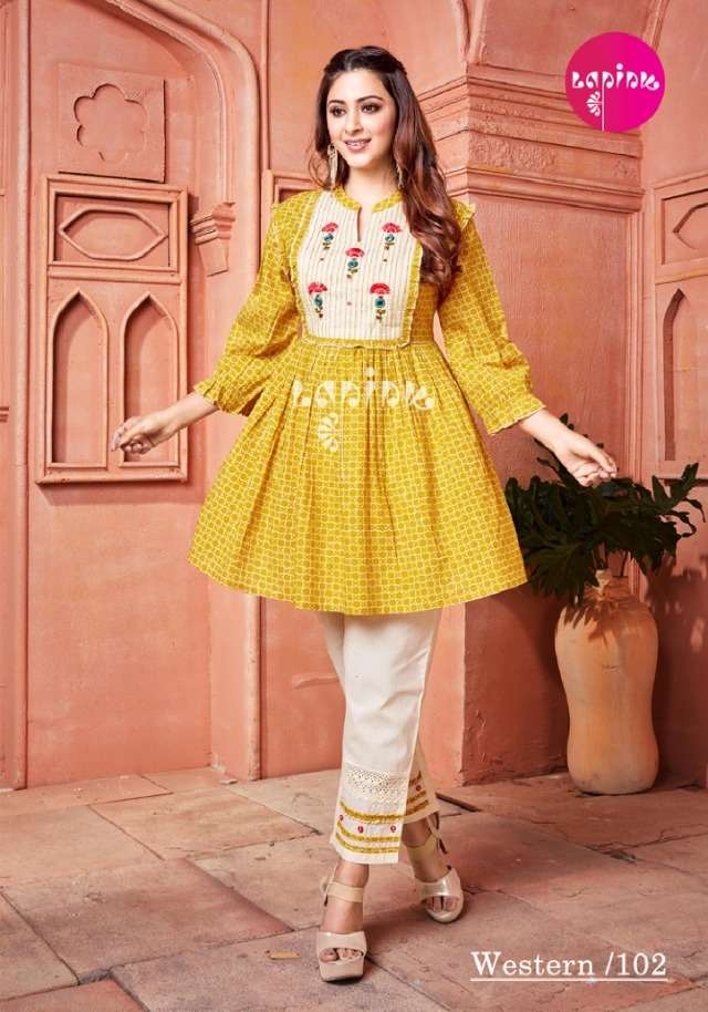 western by lapink cotton rayon designer tunics with pant collection