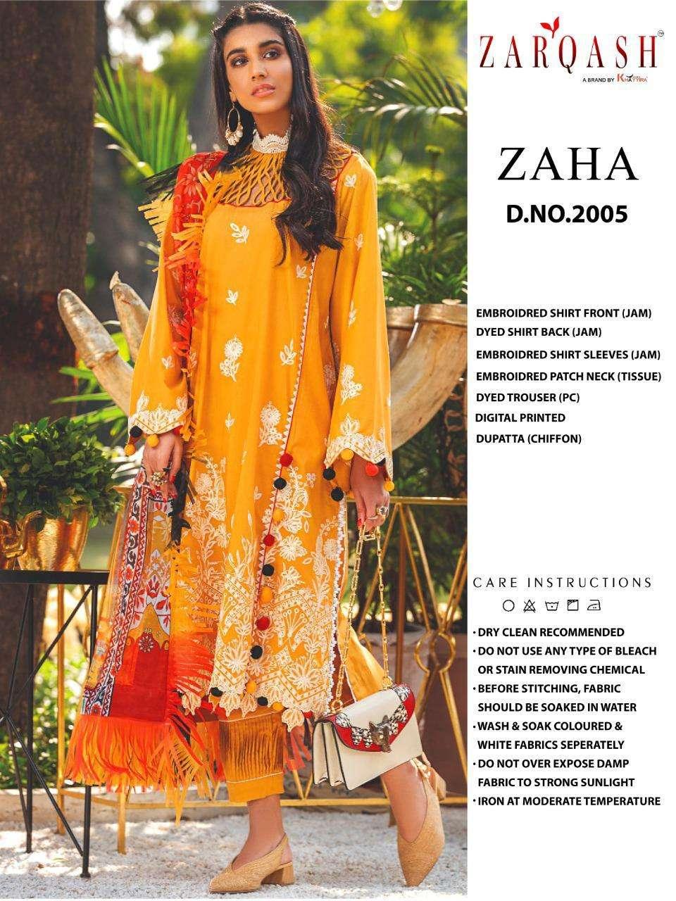 zaha by khayyira zarqash jam satin cotton pakistani suits