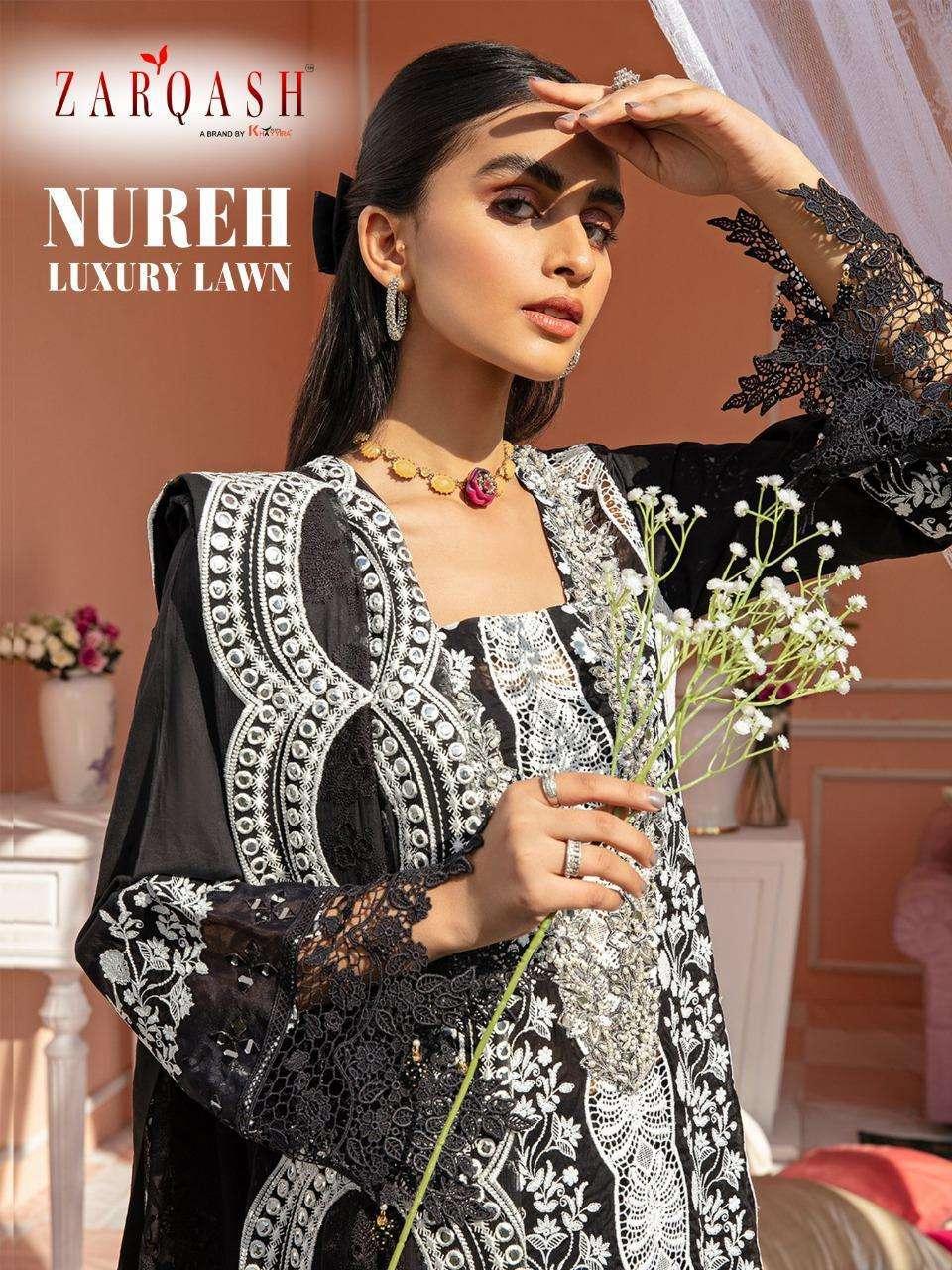 zarqash nureh luxury lawn cotton embroidery pakistani dresses concept new design 2021