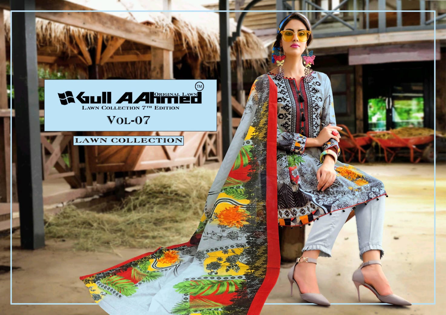 Gull Ahmed Vol 7 Pure Lawn Simple Wear Pakistani Suit Concept