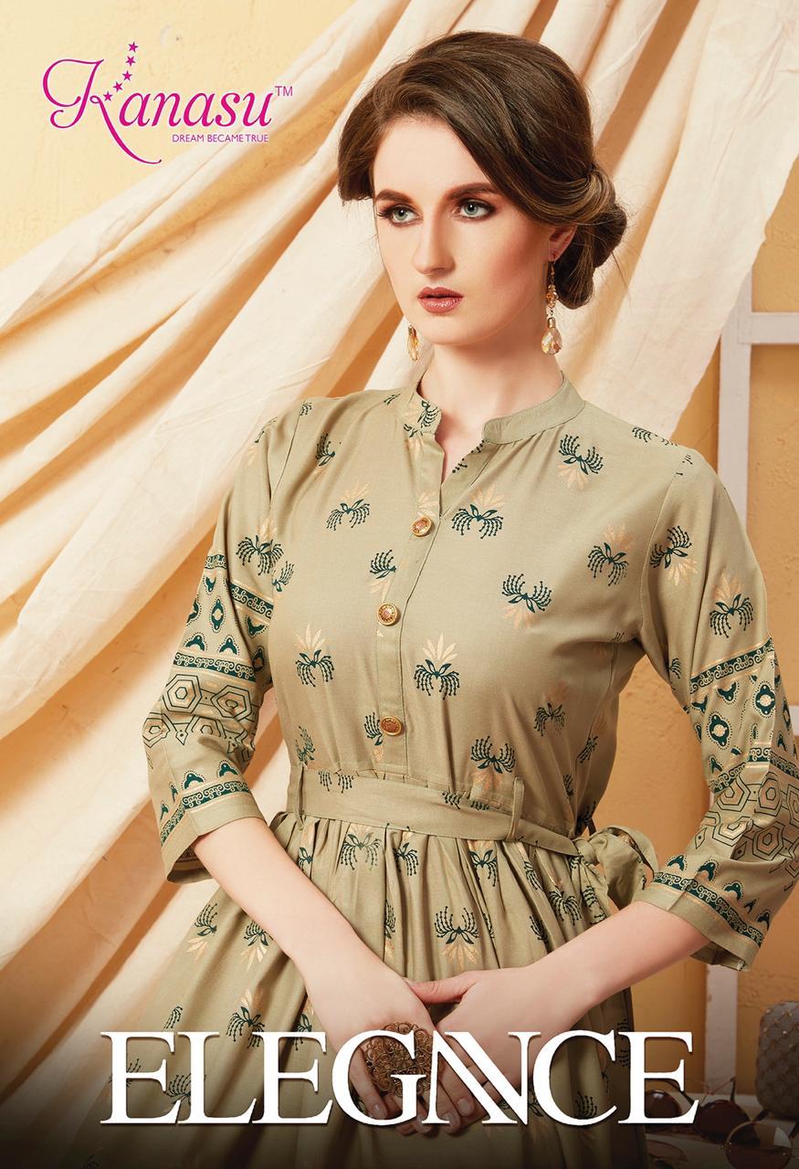 Kanasu Launch Elegance Rayon Gold Print Long Kurti Wholesale Rate In Surat Textile Market