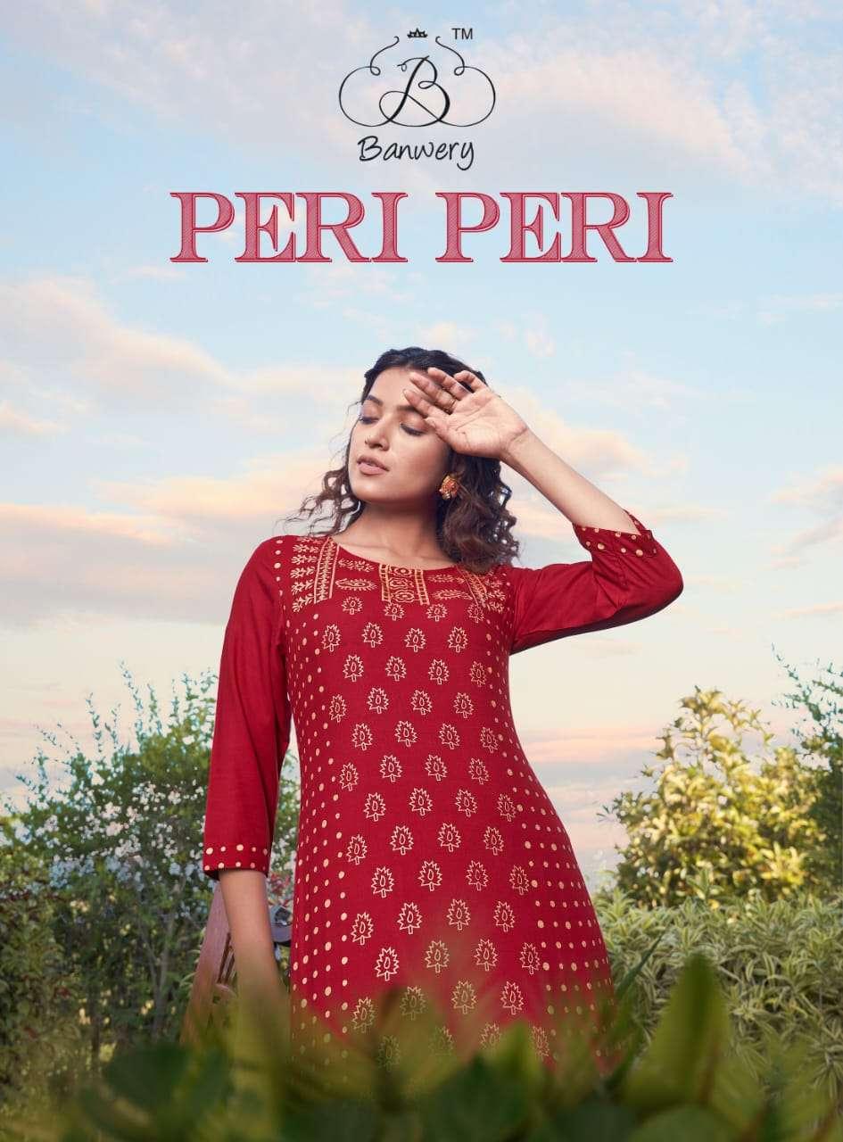 Peri Peri By Banwery Rayon Foil Printed Kurti With Pant