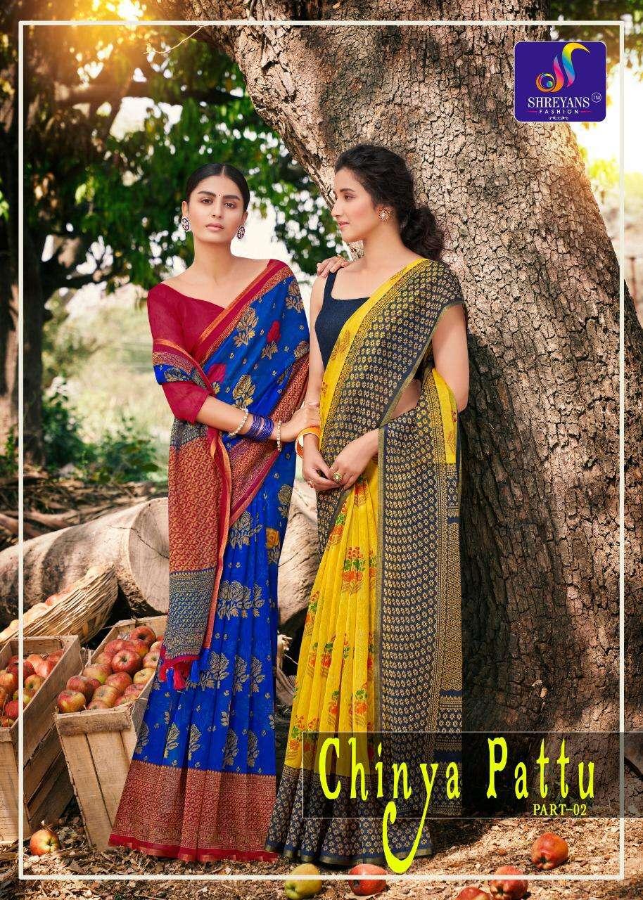 shreyans fashion authorized supplier in surat chinya pattu vol 2 linen saris with low price