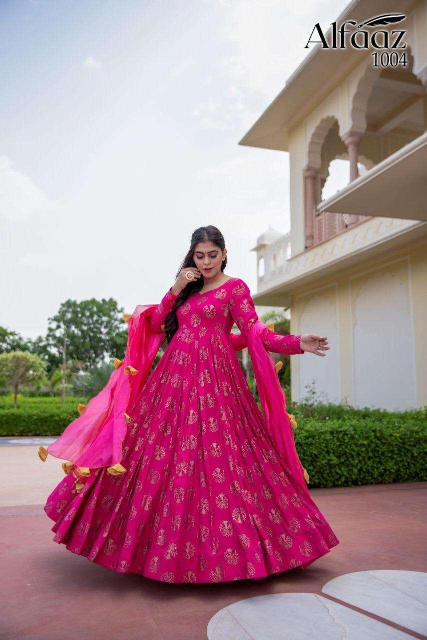 Stylishta Alfaaz Maslin Long Gown With Fancy Dupatta