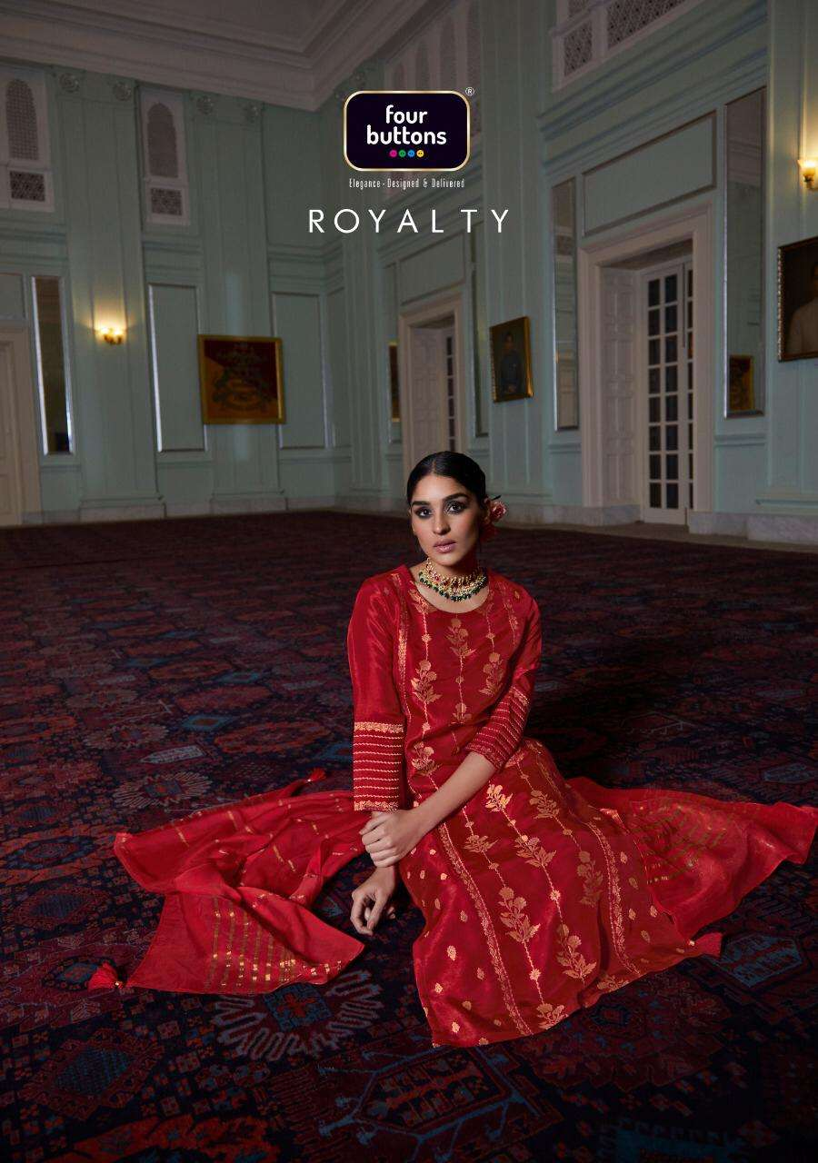 Four Buttons Royalty Dola Silk Readymade Salwar Kameez