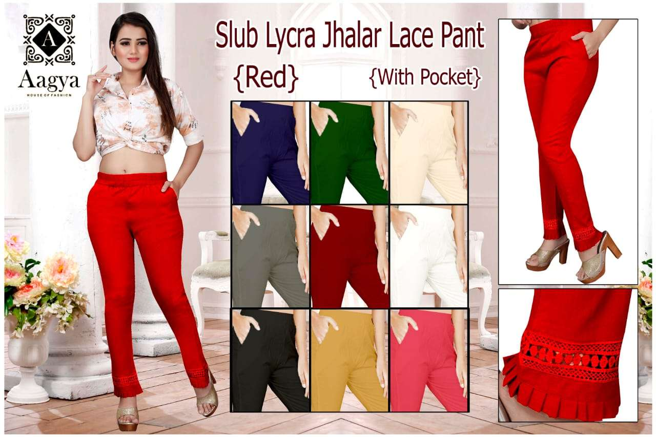 Jhalar Lace Pant By Aagya Rayon Slub Pocket Pant